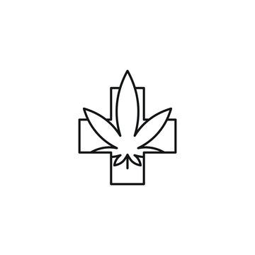 Medical leaf cross vector line art icon black on white background cannabis marijuana industry business symbols