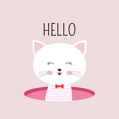 Cute cartoon cat and inscription hello. Greeting card