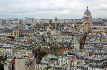 Paris from Notre Dame and the big dome of Pantheon