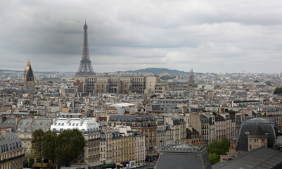 Panorama of the city and Eiffel Tower from Basilica of Notre Dam