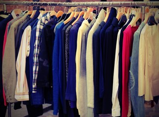 many vintage clothes for sale with vintage effect