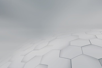 Wall Mural - Gray perspective background. Hexagonal geometric concept.