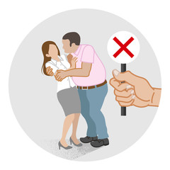 Woman who is being embraced by the man forcibly - Sexual harassment concept art