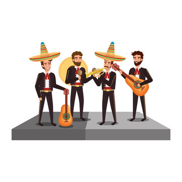 traditional mexican mariachis characters