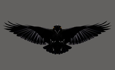 Raven in flight on grey background, low poly triangular vector illustration EPS 8 isolated. Polygonal style trendy modern logo design. Suitable for printing on a t-shirt.