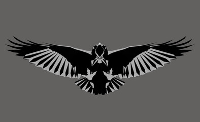 Monochrome crow. Low poly triangular  raven in flight on grey background, symmetrical vector illustration EPS 8 isolated. Polygonal style trendy modern logo design. Suitable for printing on a t-shirt.