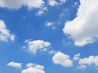 Beautiful nature of blue sky and clouds with the sun shining, sky background, cloudscape concept. Space for text in template, Empty, Looking up,