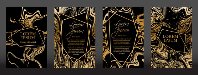Gold marble texture and geometric frames on black backgrounds vector set. Luxury design for brochure, banner, vip invitation, cover, business card. Gold foil black marble pattern texture and frames.