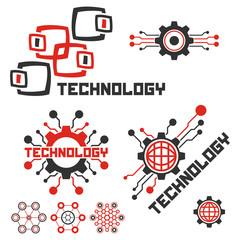 Set of circuit tech signs. Technology logo template. Electronics icon.