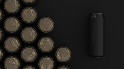 Big black soda cans on black background