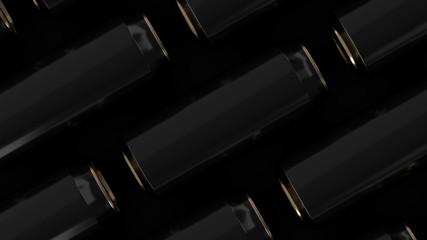 Raws of black soda cans