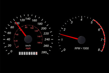 Tachometer and speedometer scale on black background