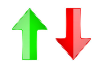 UP and DOWN arrows. 3d shiny glass icons. Red and Green
