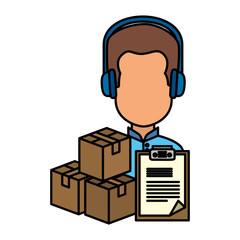 user avatar with headset and pileboxes