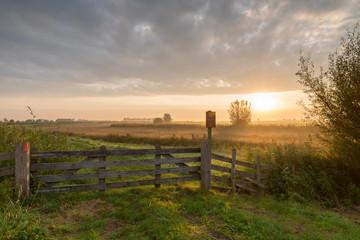 Polder landscape Alblasserwaard at sunrise