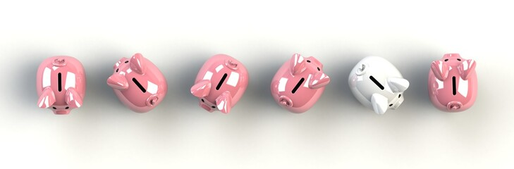 Top view piggy bank isolated on white background, Finance concept, 3d rendering