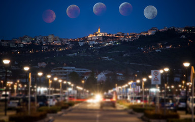 Chieti vieved from park of Mall and the total eclipse of the moon