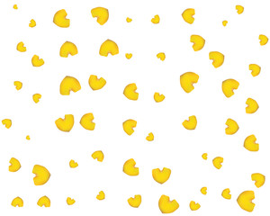 Yellow rose petals. Floral background. The shape of a heart. Valentines day. Vector illustration.