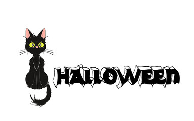 Pumpkin and Cat. Template for a Halloween party