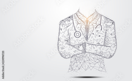 Abstract health medical science consist doctor digital wireframe