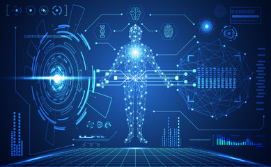abstract technology ui futuristic human medical hud interface hologram elements of digital data chart, DNA,Fingerprint,Brain computing circle vitality innovation on hi tech future design background