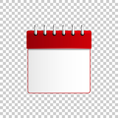 Realistic Calendar red isolated object on transparent background. Vector Illustration