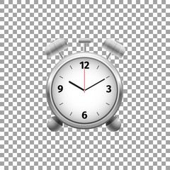 Realistic Classic silver alarm clock isolated object on transparent background. Vector Illustration