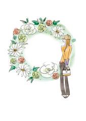 花のフレームとカジュアルスタイルの女性
