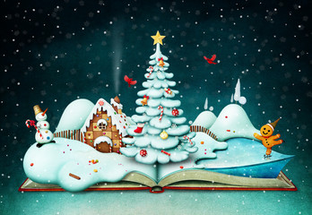 Holiday greeting card or poster with fantasy book and Christmas scene
