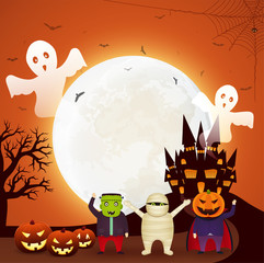 Halloween fun party with children dressed in Halloween costumes, pumpkins, flying ghosts and dark castle on orange background bright moon.