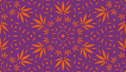 Cannabis Background. Vector Pattern.