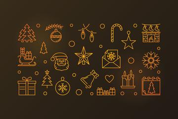 New Year vector line golden horizontal illustration or banner