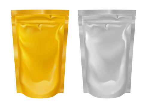 Realistic foil pouch collection set golden and silver colors.