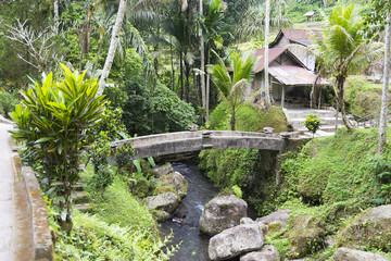 Gung Kawi temple complex. View of a stone bridge over the river leading to the temple area.