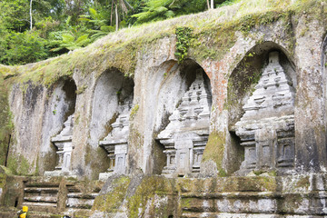 Gunung Kawi 8m high scupltures carved into the rock face resting place of King Anak Wungsu, Bali, Indonesia.