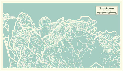 Freetown Sierra Leone City Map in Retro Style. Outline Map.