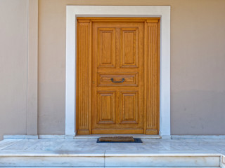 Athens Greece, contemporary house entrance solid wood door