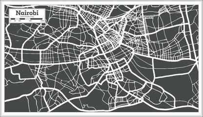 Nairobi Kenya City Map in Retro Style. Outline Map. Wall mural