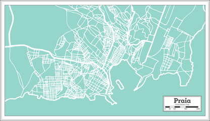 Praia Cape Verde City Map in Retro Style. Outline Map.