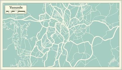 Yaounde Cameroon City Map in Retro Style. Outline Map.