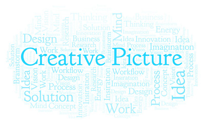 Creative Picture word cloud, made with text only.