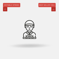 Outline Soldier icon isolated on grey background. Line pictogram. Premium symbol for website design, mobile application, logo, ui. Editable stroke. Vector illustration. Eps10