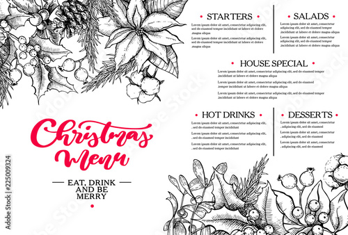 christmas menu botanical restaurant and cafe template vector hand