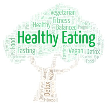 Word cloud with text Healthy Eating in a shape of tree on a white background.