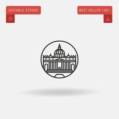 Outline Vatican icon isolated on grey background. Line pictogram. Premium symbol for website design, mobile application, logo, ui. Editable stroke. Vector illustration. Eps10