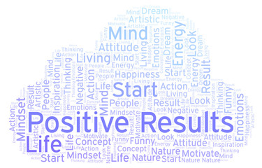 Positive Results word cloud, made with text only.