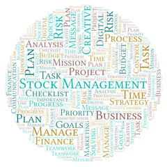 Stock Management word cloud, made with text only.
