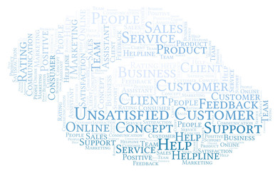 Unsatisfied Customer word cloud.