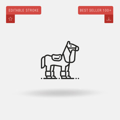 Outline Horse icon isolated on grey background. Line pictogram. Premium symbol for website design, mobile application, logo, ui. Editable stroke. Vector illustration. Eps10