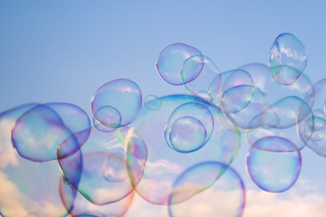 Giant soap bubbles floating in the air